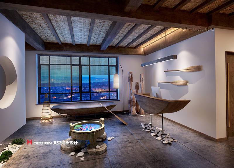 会客厅,多采集海洋元素做装饰,如船做长椅,鱼篓做灯,从细节上制造被海